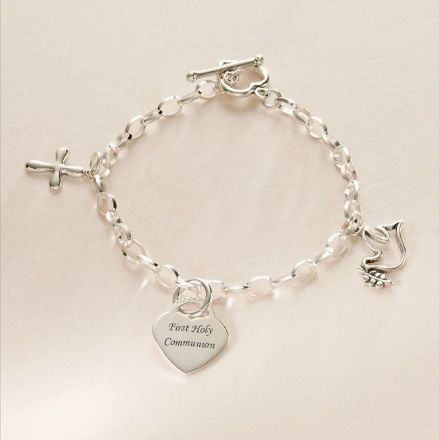 Engraved Catholic Bracelet, Dove, Cross, Heart